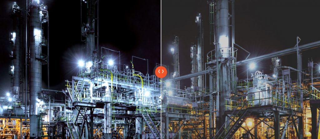 Разница между изображением с технологией OLED и без нее