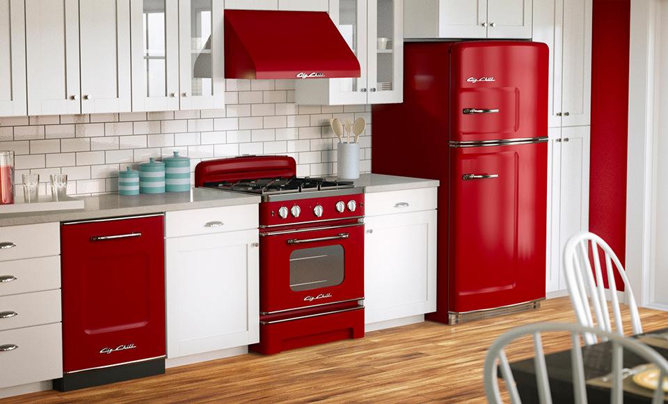 Інтер'єр кухні в червоно-білому кольорі