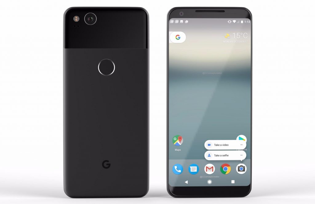Рендер Google Pixel 2 - зовнішній вигляд