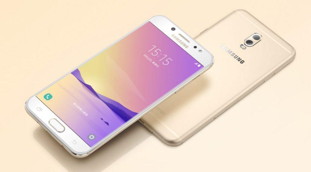 Вид спереди и сзади смартфона Samsung Galaxy C8