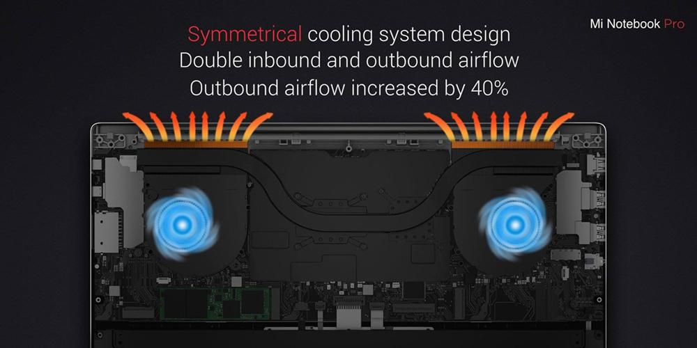 Улучшенная система охлаждения на 40% в Xiaomi Mi Notebook Pro