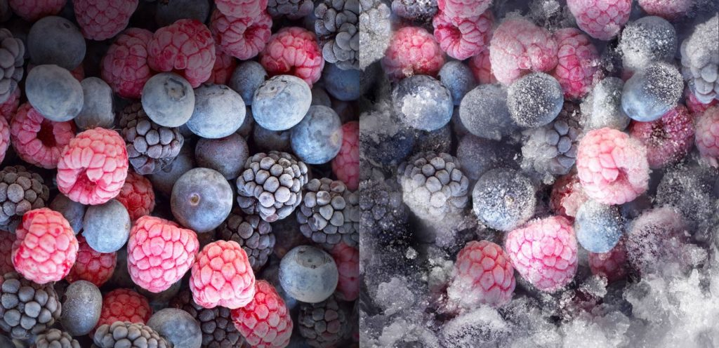 В левой части заморозка No Frost, в правой — обычная