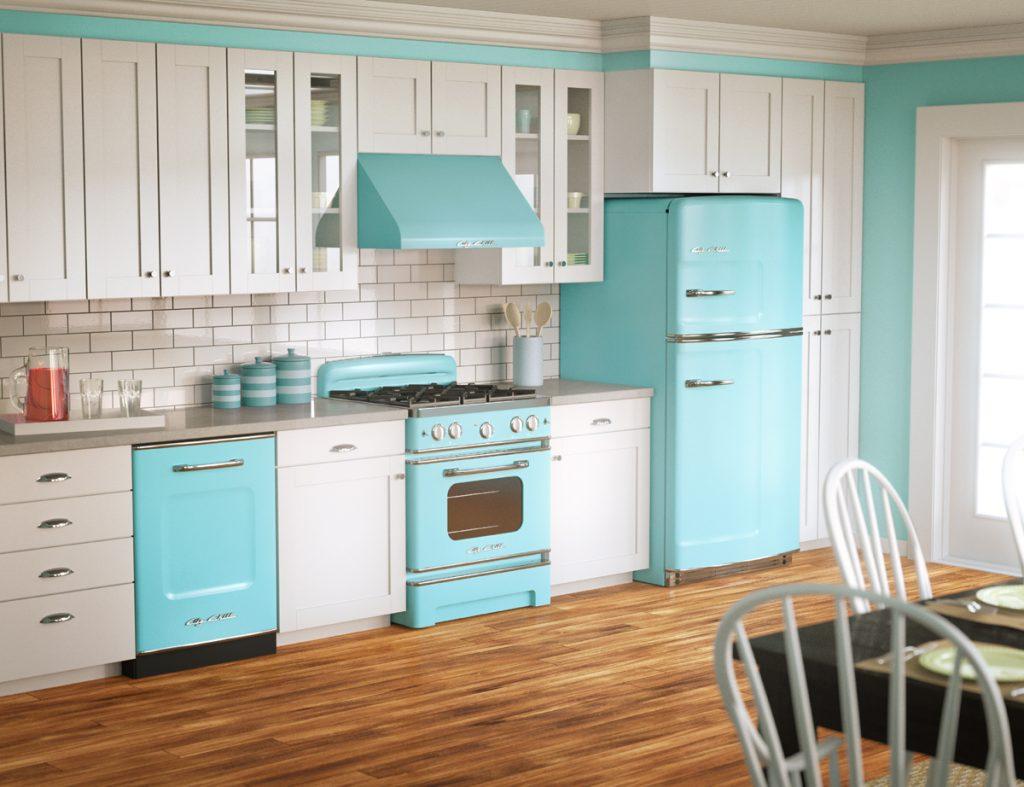 Бірюзовий холодильник в інтер'єрі - приклад дизайну
