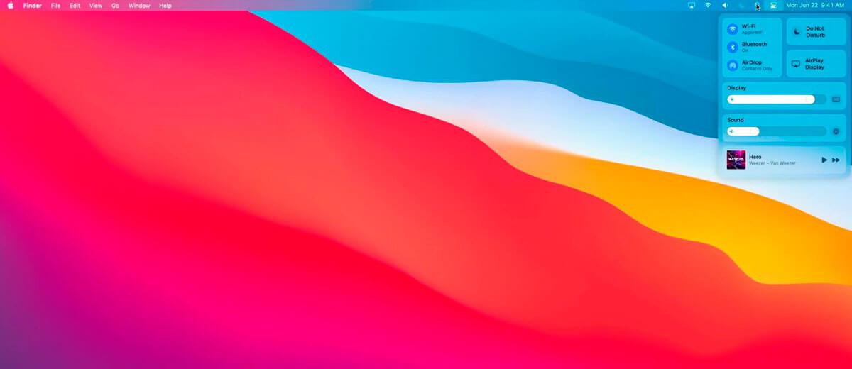 macOS Big Sur новое меню