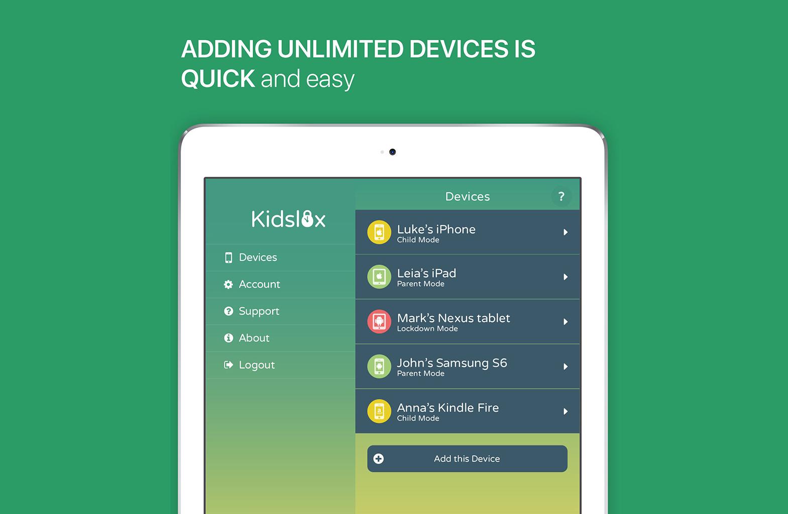 Безмежна кількість користувачів в Kidslox