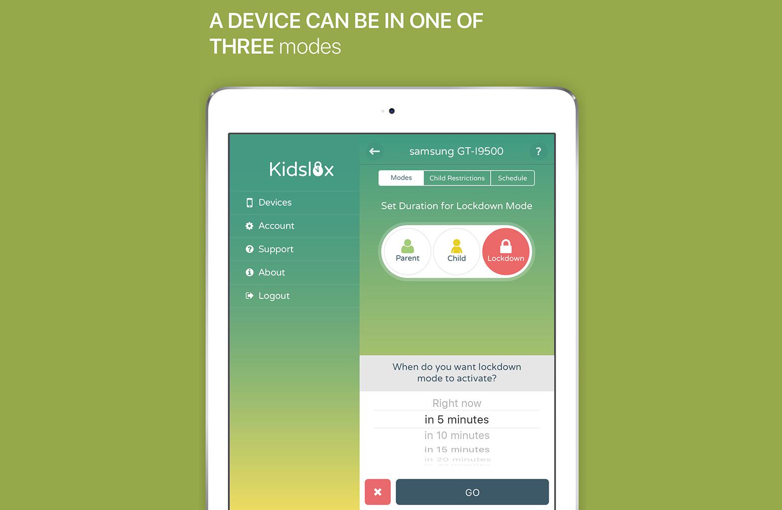 Три режиму для користувача в Kidslox